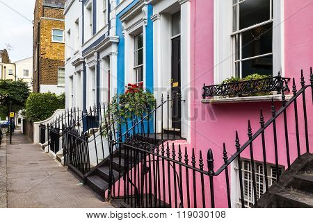 LONDON UK - 16TH JULY 2015: Buildings in Notting Hill London during the day showing the colorful style of the buildings