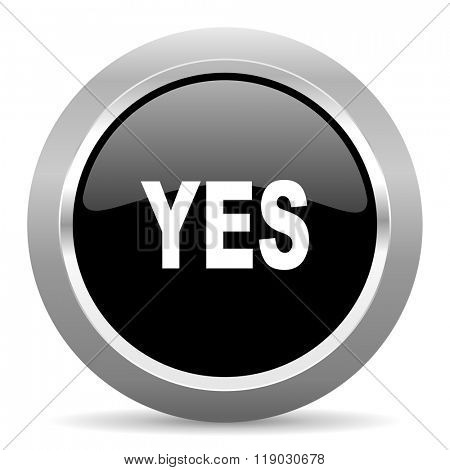 yes black metallic chrome web circle glossy icon