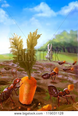 Cartoon Illustration Of Group Of Red Ants Eating Carrot In The Garden With White Rabbit Shocking In