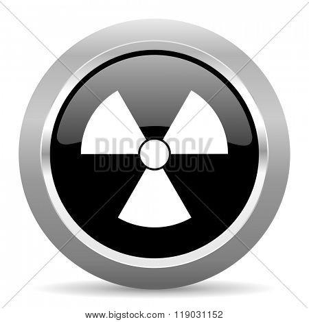 radiation black metallic chrome web circle glossy icon