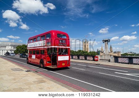 Red Double Decker Tour Bus In London