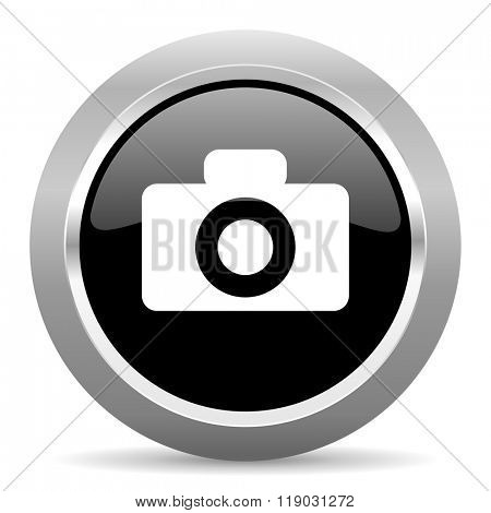 camera black metallic chrome web circle glossy icon