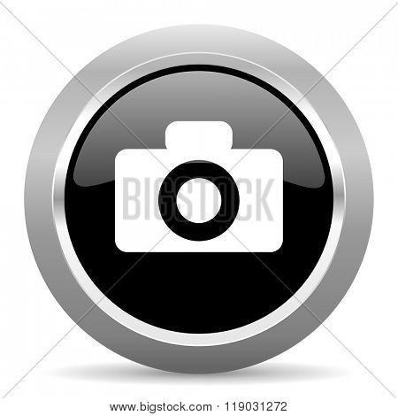 camera black metallic chrome web circle glossy icon