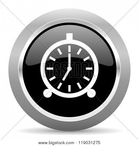 alarm black metallic chrome web circle glossy icon