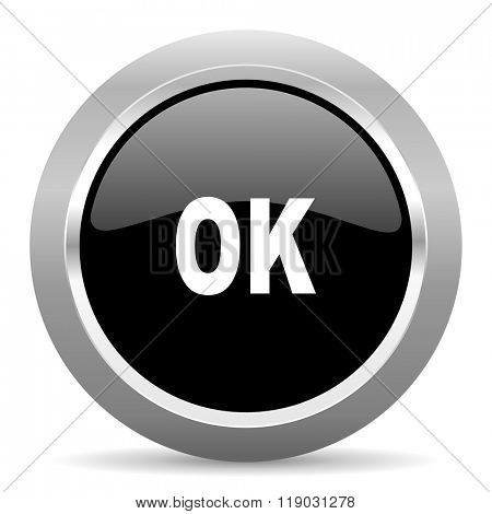 ok black metallic chrome web circle glossy icon