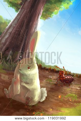 Cartoon Illustration Of White Rabbit Rubbing Her Ears In Pain With Red Ant Army Standing In The Natu
