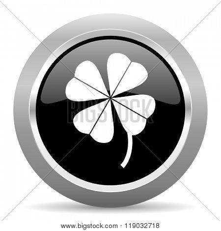 four-leaf clover black metallic chrome web circle glossy icon