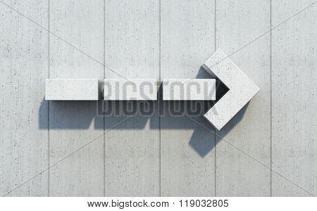 concrete arrow show the direction