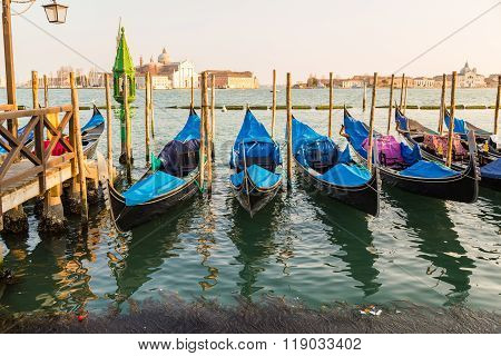 The Church of San Giorgio Maggiore from the San Marco district in Venice with Gondolas in the foreground