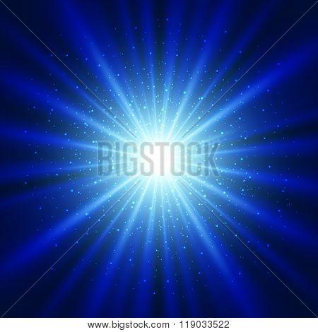 Blue light sunburst background.