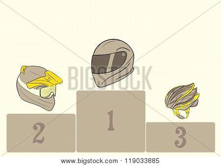 Motorcycle helmets on a pedestal