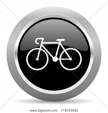 bicycle black metallic chrome web circle glossy icon