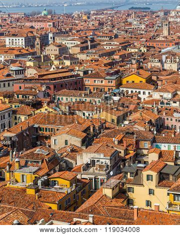 A high view of the rooftops of Venice during the day