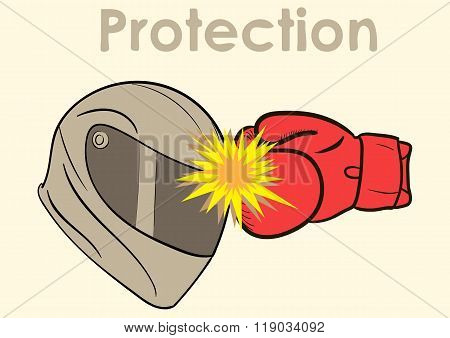 Protection of a helmet