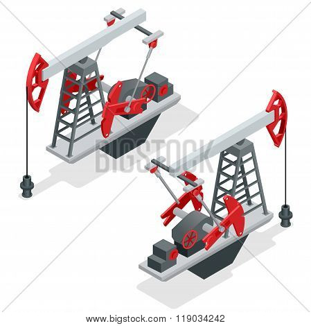 Oil pump. Oil pump oil rig energy industrial machine for petroleum. Oil and gas industry. Flat 3d is