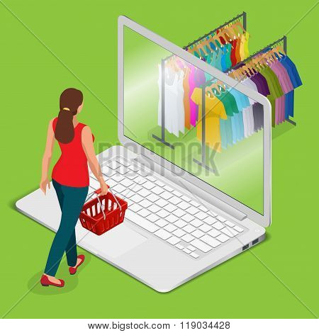 E-commerce, pay on-line and on-line shopping concept. Mobile grocery shopping e-commerce online stor