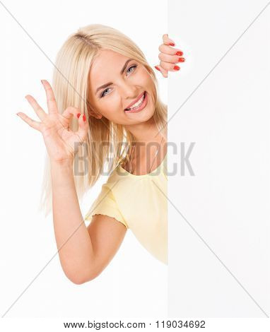 Beautiful girl with blank placard board, isolated on white background