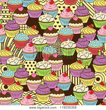 Seamless Cute Delicious Cupcake Doodle Pattern. It Includes Yummy Deserts With Icing, Cherry, Strawb