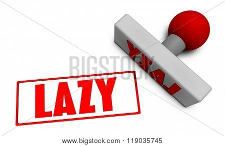 Lazy Stamp or Chop on Paper Concept in 3d