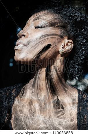 Portrait of attractive african-american woman combined with the fractal