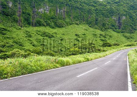 Roadway and cliff