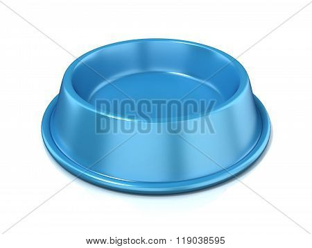 Blue empty pet bowl 3D
