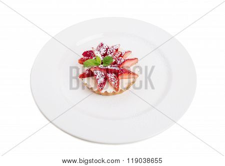 Delicious strawberry shortcake with whipped cream.