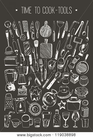 Hand drawn set - Time to cook - Tools