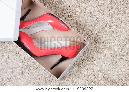 Red Women Shoes In Box