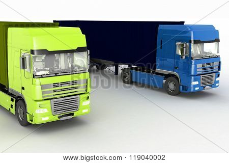 Trucks with semi-trailer isolated on white background