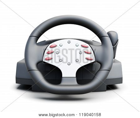 Game Steering Wheel Front Isolated On White Background. 3D Rende