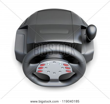 Game Steering Wheel, Top Wiew. Isolated On A White