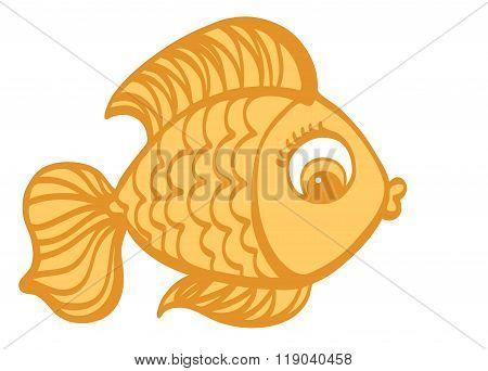 Goldfish Cartoon Hand Drawn Illustration