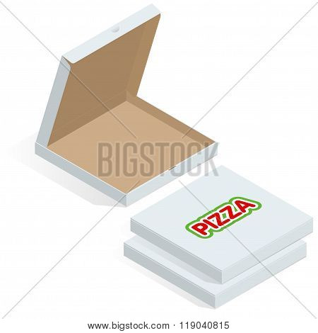 Realistic 3d isometric pizza cardboard box. Opened, closed, side and top view. Flat style vector ill