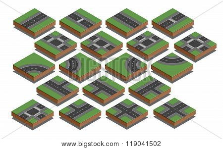 Road elements. City map creation kit. Isometric vector illustration.
