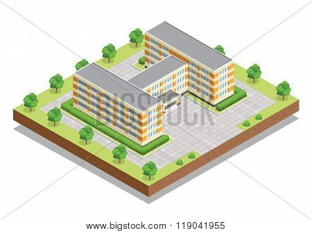 School or university or college building. Flat design web isometric concept.
