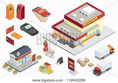 Supermarket exterior minimarket exterior Credit Cards ATM machines POS Terminal  online shoping carg
