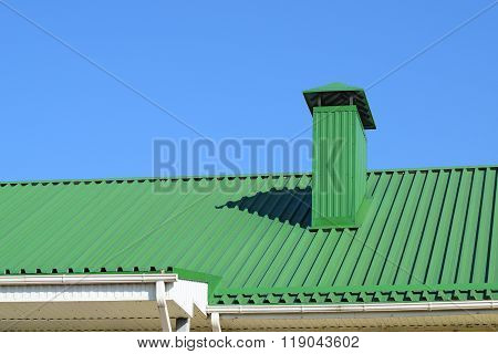 Hood On The Roof Of Metal Sheets