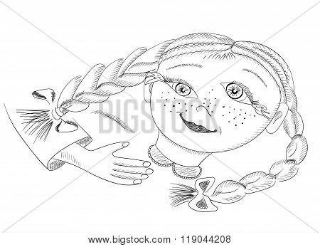 Surreal hand drawing portrait of girl with braids