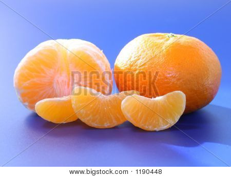 Orange And Orange Segments On Blue Background