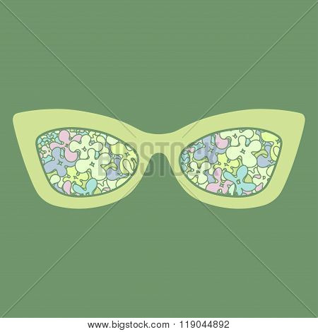 Sunglasses With Flowers Reflection. Vector Illustration
