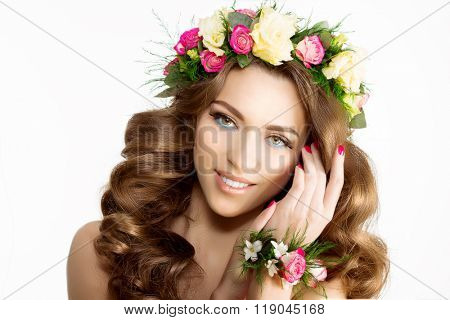 Spring woman Young  Girl flowers Beautiful model wreath bracelet Bride bridesmaid makeup spa Lady make up Products Treatment