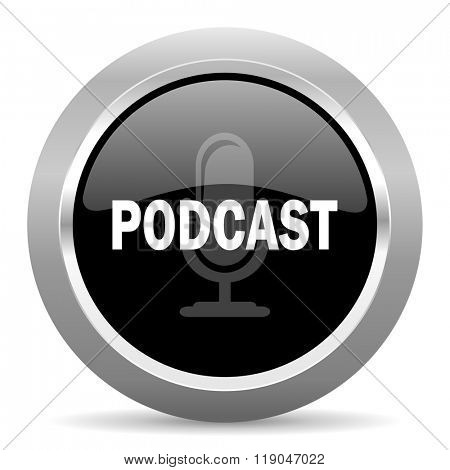 podcast black metallic chrome web circle glossy icon