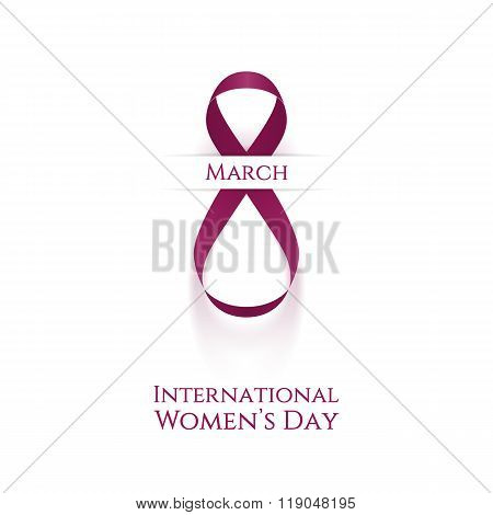 Womens Day realistic curved pink festive Ribbon
