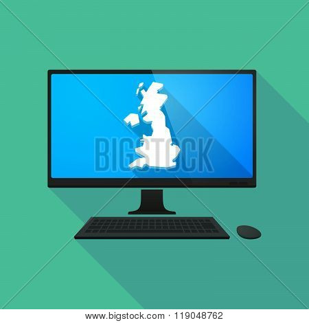 Personal Computer With  A Map Of The Uk