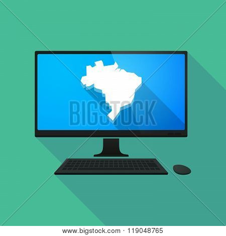 Personal Computer With  A Map Of Brazil