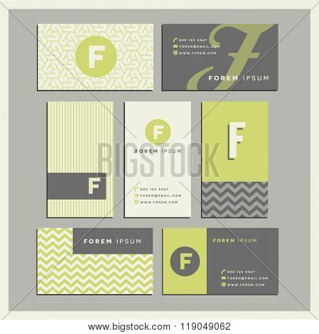 Set of coordinating business card designs with the letter f