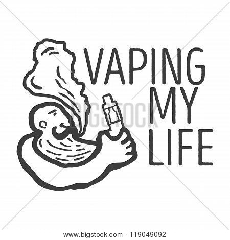 Monochrome logo of the person with an electronic cigarette in hands