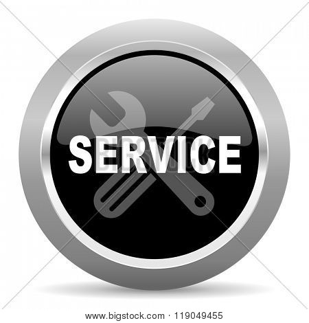 service black metallic chrome web circle glossy icon