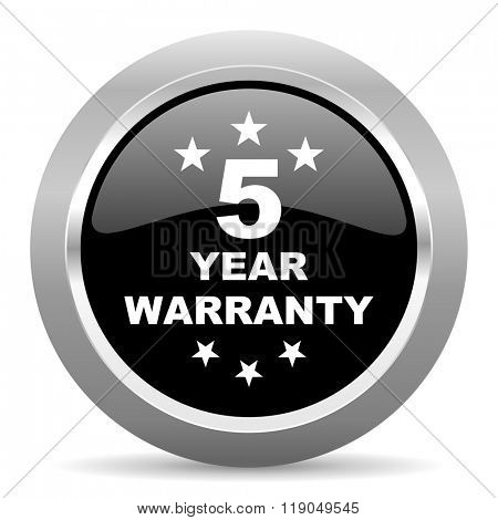 warranty guarantee 5 year black metallic chrome web circle glossy icon